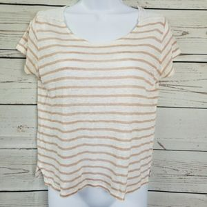 FOREVER 21 striped short sleeve lace back top